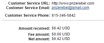 prize rebel payment proof