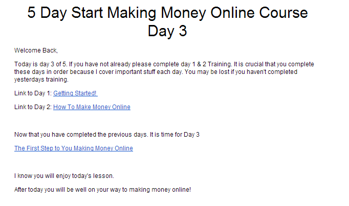 example of email with course link