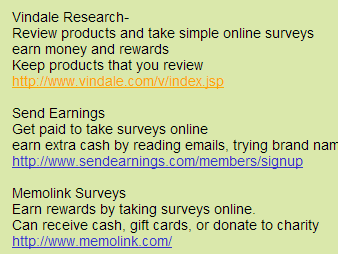 New Edge Surveys List of Survey Sites