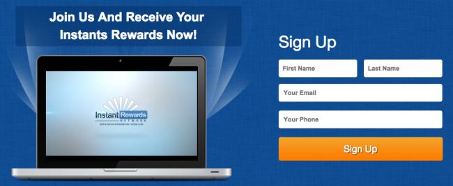 instant rewards network capture page