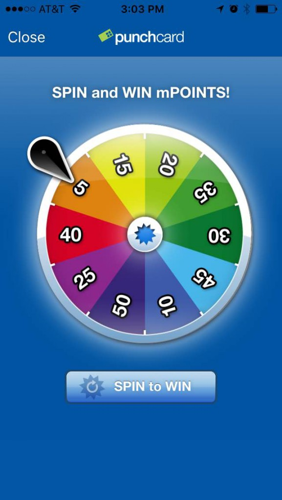 punchcard app spin the wheel