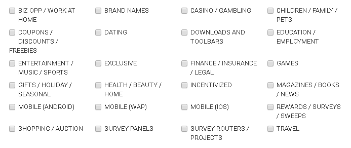 Panthera Network Offers Categories