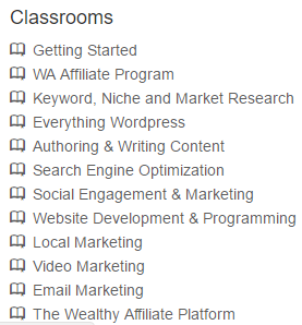 wealthy affiliate reviews classrooms