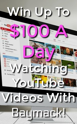 Did you know you could get paid to watch youtube videos? With Baymack you can earn lotto entries for watching and could win up to $100 daily!