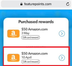 featurepoints app amazon gift card payment proof
