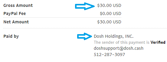 dosh app payment proof