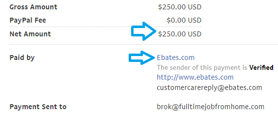 ebates payment proof