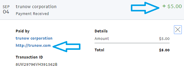 trunow app payment proof
