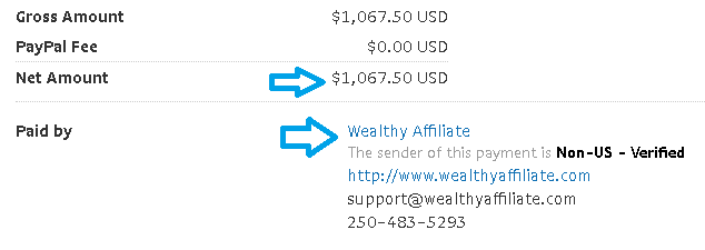 wealthy affiliate university payment proof