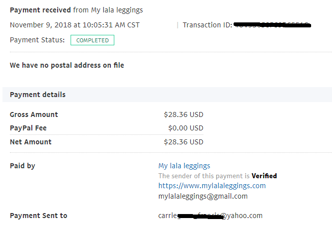 My proof of payment from My Lala Leggings