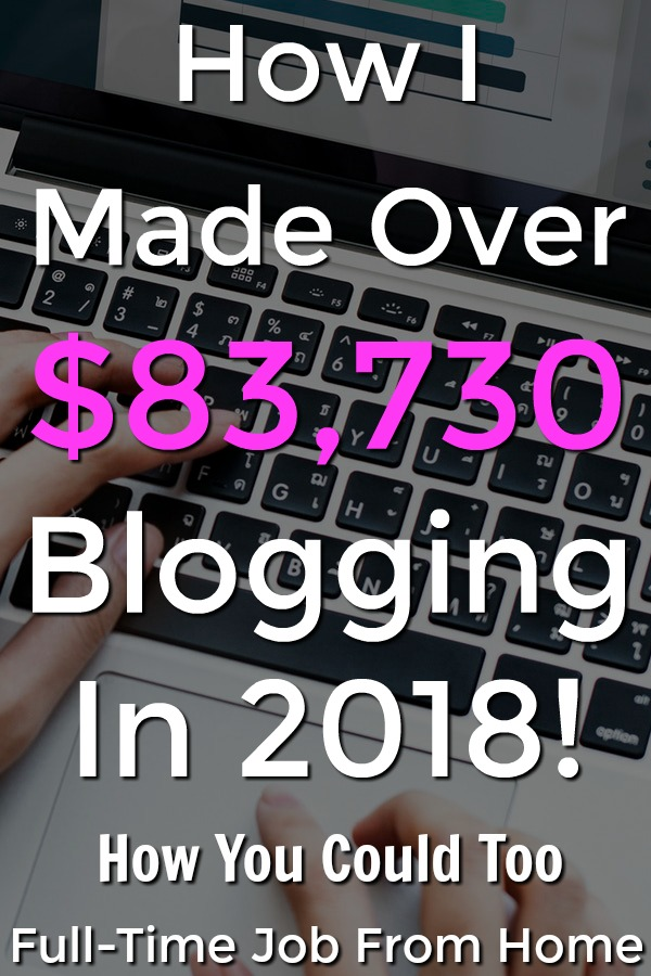 In 2018 I Made Over $83,000 Blogging! Learn Exactly Where that Income came from and if you're interested in making a passive online income with a blog, you can see exactly where I learned to make money blogging!