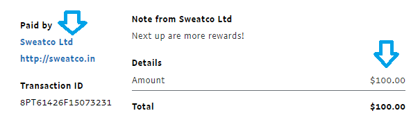 sweatcoin app payment proof